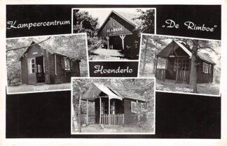 Ansichtkaart Hoenderloo Kampeercemtrum De Rimboe van 1934 Cantine Het Sijsje Zwaluw en Vinkje Camping 1958 HC19037