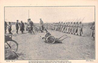 Ansichtkaart België Het nazicht der Belgische mortieren voor hun vertrek naar het front Militair WO1 La Grande Guerre Soldaten 1914-1918 Europa HC19069