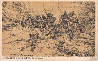 Ansichtkaart België Artillerie Belge WO1 Illustrator A. Bastien Stempel Legerposterijen Militair verzonden 1917 Europa HC19070