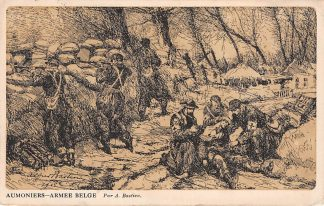 Ansichtkaart België Aumoniers Armee Belge Illustrator A. Bastien Stempel Legerposterij 1917 Militair WO1 Europa  HC19071