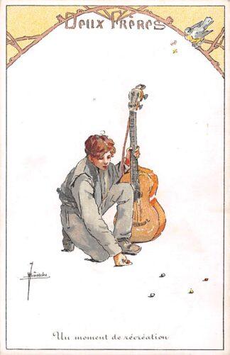 Ansichtkaart België Fantasie Deux Freres Un moment de recreation Jongen met gitaar en vogel Illustrator J. Bussche Muziek Europa HC19120