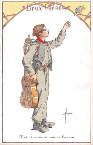 Ansichtkaart Belgie Fantasie Deux Freres Il est ne musicien comme l'oiseau Jongen met gitaar en vogel Muziek Illustrator J. Bussche Europa HC19121