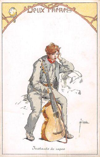 Ansichtkaart België Fantasie Deux Freres Instants de repos Jongen met gitaar en vogel Muziek Illustrator J. Bussche Europa HC19123