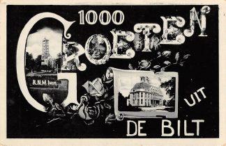 Ansichtkaart De Bilt 1000 Groeten uit 1937 K.N.M.Inst. HC19182