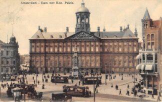 Ansichtkaart Amsterdam Dam met Koninklijk Paleis Trams 1912 HC19290