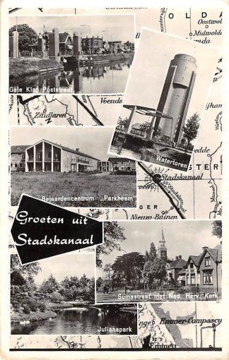 Ansichtkaart Stadskanaal Groeten uit 1961 Gele Klap Poststraat Bejaardencentrum Julianapark Watertoren Somsstraat SoHC19404