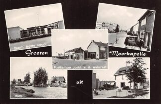 Ansichtkaart Moerkapelle Groeten uit Openb. lagere school Postkantoor Jonk. v.d. Welstraat Rotte Beatrixlaan en Raadhuis HC19422