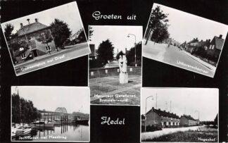 Ansichtkaart Hedel Gemeentehusi met Dreef Jachthaven Monument Gevallenen Bommelerwaard Uithovenschestraat en Hogenhof HC19428