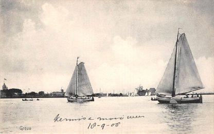 Ansichtkaart Grouw Zeil schepen op het meer 1908 HC19430