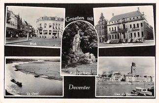 Ansichtkaart Deventer Groeten uit 1950 Brink De IJssel Monunument Steyn Stadhuis en Gezicht op Deventer HC19436