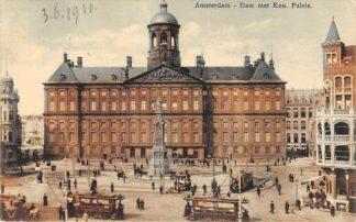 Ansichtkaart Amsterdam Dam met Koninklijk Paleis Trams HC19450