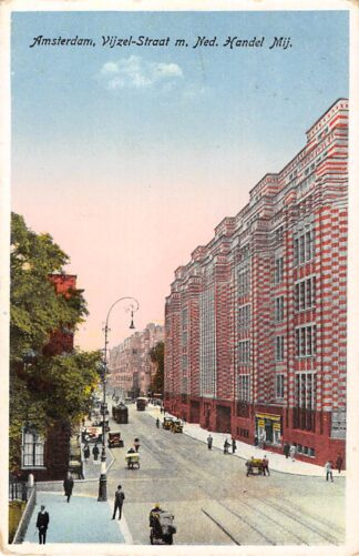 Ansichtkaart Amsterdam Vijzelstraat m. Ned. Handel Mij, Tram 1930 HC19481