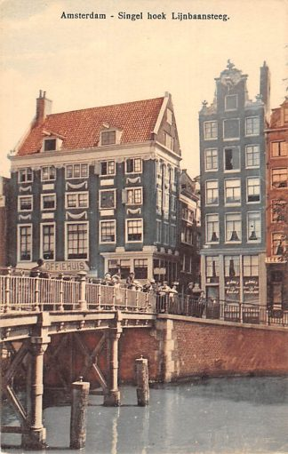 Ansichtkaart Amsterdam Singel hoek Lijnbaansteeg Koffiehuis HC19490