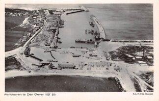 Ansichtkaart Den Oever Werkhaven 1929 Aanleg Wieringermeer dijk IJsselmeer Zuiderzee KLM Luchtfoto 8470 HC19506