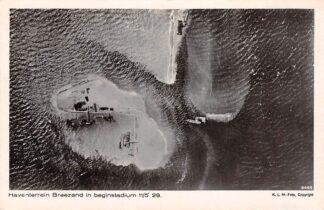 Ansichtkaart Breezand Haventerrein in beginstadium 1929 Wieringermeer KLM luchtfoto 8496 Zuiderzee IJsselmeer HC19509