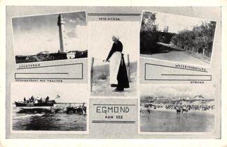 Ansichtkaart Egmond aan Zee Vuurtoren Reddingsboot met tractor Watertorenweg Strand Op de uitkijk HC19516