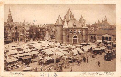 Ansichtkaart Amsterdam Nieuwmarkt met Waag en Markt Tram 1914 HC19524