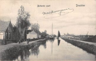 Ansichtkaart Drachten Buitenste Vaart Binnenvaart schepen Molens 1910 HC19552