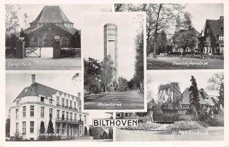 Ansichtkaart Bilthoven Gereformeerde Kerk Watertoren Soestdijkerstr. w. Gemeentehuis Dr. Melchiorbank 1954 HC19672
