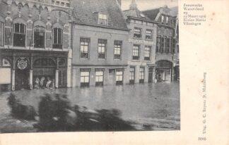 Ansichtkaart Vlissingen Kleine Markt Zeeuwsche Watervloed op 12 Maart 1906 HC19831