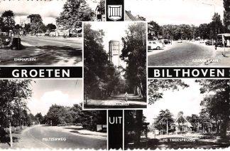 Ansichtkaart Bilthoven Groeten uit 1965 Emmaplein Peltzerweg Watertoren Julianalaan De Tweesprong HC19883