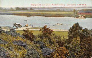 Ansichtkaart Arnhem Omstreken Rijngezicht van af de Westerbouwing met veerpont Binnenvaart schepen Scheepvaart HC19930
