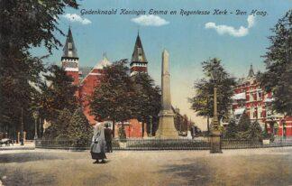 Ansichtkaart Den Haag Gedenknaald Emma en Regentesse Kerk 1912 HC19936