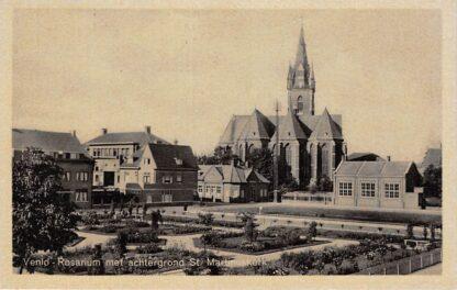 Ansichtkaart Venlo Rosarium met achtergrond St. Martinus kerk 1944 HC19992