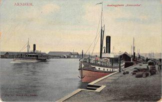Ansichtkaart Arnhem Aanlegplaats Concordia Binnenvaart schepen Scheepvaart HC20001