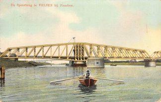 Ansichtkaart Velsen bij Haarlem De Spoorbrug Spoorwegen 1913 HC20002