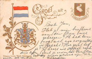 Ansichtkaart 's-Gravenhage Groet uit 1903 Reliëfkaart met wapens van Den Haag en Nederland HC20016
