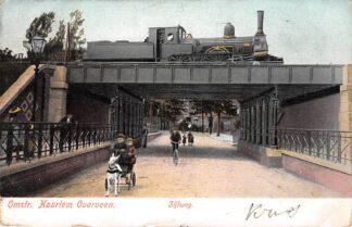 Ansichtkaart Overveen Omstr. Haarlem Zijlweg net stoomtrein op spoorviaduct Spoorwegen HC20024