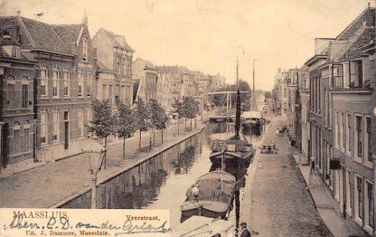 Ansichtkaart Maassluis Veerstraat met Binnenvaart schepen Scheepvaart 1906 HC20058