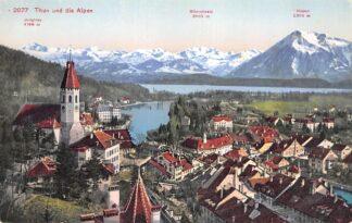 Ansichtkaart Zwitserland Thun und die Alpen Schweiz Suisse Switzerland Europa HC20059