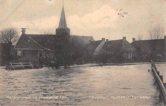 Ansichtkaart Wartena Watersnood in Friesland Dorpskerk midden in het water Overstroming 1910 HC20065