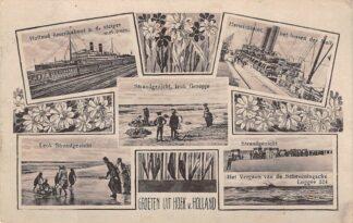 Ansichtkaart Hoek van Holland Holland-Amerika boot a.d. steiger met trein Strand Harwichboot het lossen der mail 1918 Scheepvaart HC20076