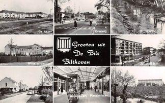 Ansichtkaart De Bilt Bilthoven Groeten uit 1961 De Akker Overweg Wilhelminaschool Julianaschool Orionlaan Meijenhage Winkelgalerij Planetenbaan HC20120