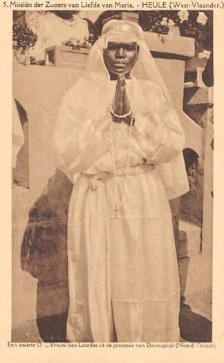 Ansichtkaart Zuid-Afrika Missiën der Zusters van Liefde van Maria Heule West-Vlaanderen Een zwarte O.L. Vrouwe van Lourdes uit de processie van Doornspruit Transvaal Afrika Africa België HC20173