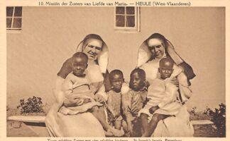 Ansichtkaart Zuid-Afrika Missiën der Zusters van Liefde van Maria Heule West-Vlaanderen Twee gelukkige zusters met vier gelukkige kinderen. St. Joseph's locatie Pietersburg Afrika Africa België HC20176