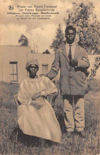 Ansichtkaart Zuid-Afrika Meester John Machuba en vrouw op bezoek bij den missionaris Missie der Paters Benedictijnen Afflighem Steenbrugge Dendermonde België Afrika  HC20254