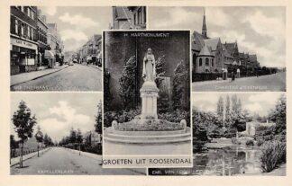 Ansichtkaart Roosendaal Groeten uit 1941 Molenstraat Kapellerlaan H. Hart Monument Charitas Ziekenhuis Emil van Loonpark HC20340