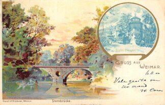 Ansichtkaart Duitsland Weimar Gruss aus 1900 Sternbrucke Grofsh. Bibliothek Deutschland Europa HC20383