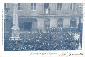 Ansichtkaart Amsterdam Aubade op den Dam 6 Maart 1901 Militair Koningshuis Koningin Wilhelmina en Prins Hendrik HC20447