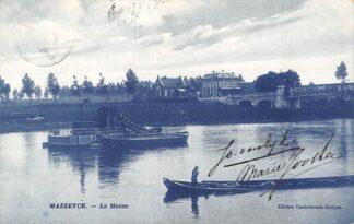 Ansichtkaart België Maaseik Maaseyk La Meuse De Maas Baggermolen 1910 Scheepvaart Europa HC20545