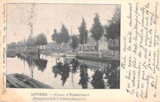 Ansichtkaart België Antwerpen Anvers Canal d' Herenthals 1901 Binnenvaart schepen Scheepvaart 1901 HC20572
