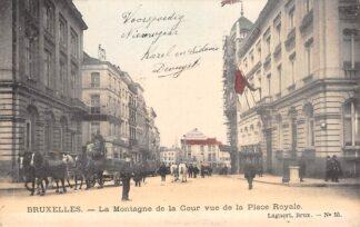 Ansichtkaart België Brussel Bruxelles La Montagne de la Cour vue de la Place Royale 1904 Paardentram Tram Europa HC20647