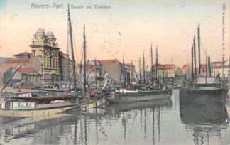 Ansichtkaart België Antwerpen Anvers - Port Bassin au Charbon met schepen Scheepvaart 1908 Europa HC20673
