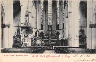 Ansichtkaart 's-Gravenhage Elandstraat R.C. Kerk Interieur 1905 HC20697