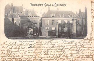 Ansichtkaart 's-Gravenhage Stadhouderspoort Reclame Bensdorp 's Cacao en Chocolade 1900 HC20741