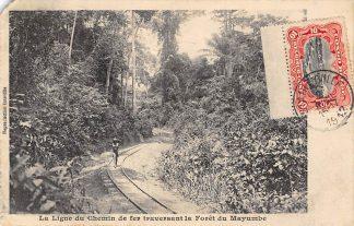 Ansichtkaart Congo Belge La ligne du Chemin de Fer traversant la Foret duMayumbe 1912 Spoorwegen België Azië HC20758